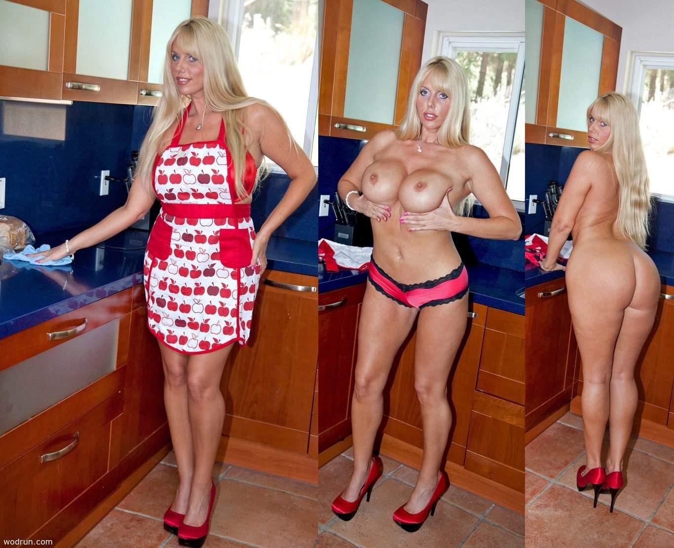 Una milf cocinera que se desnuda en la cocina
